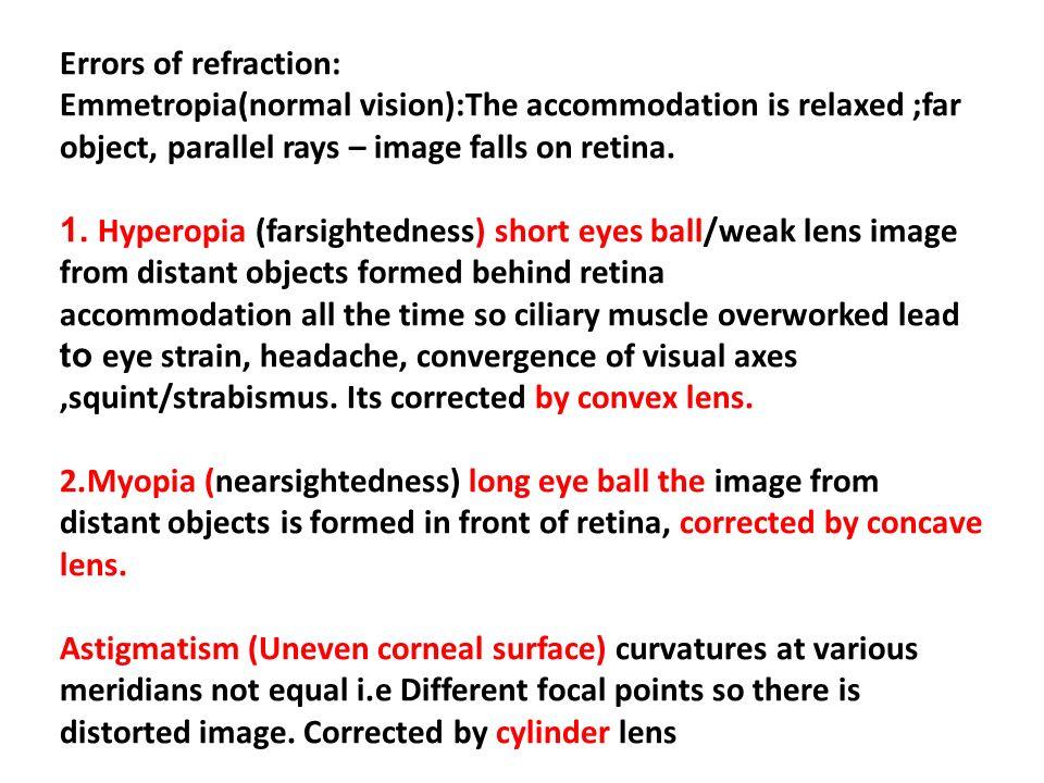 vision astigmatism myopia hyperopia xerophthalmia strabismus)