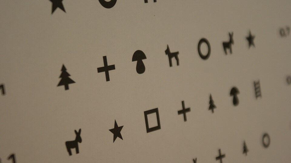 A4-es látásteszt tábla felső és alsó látás