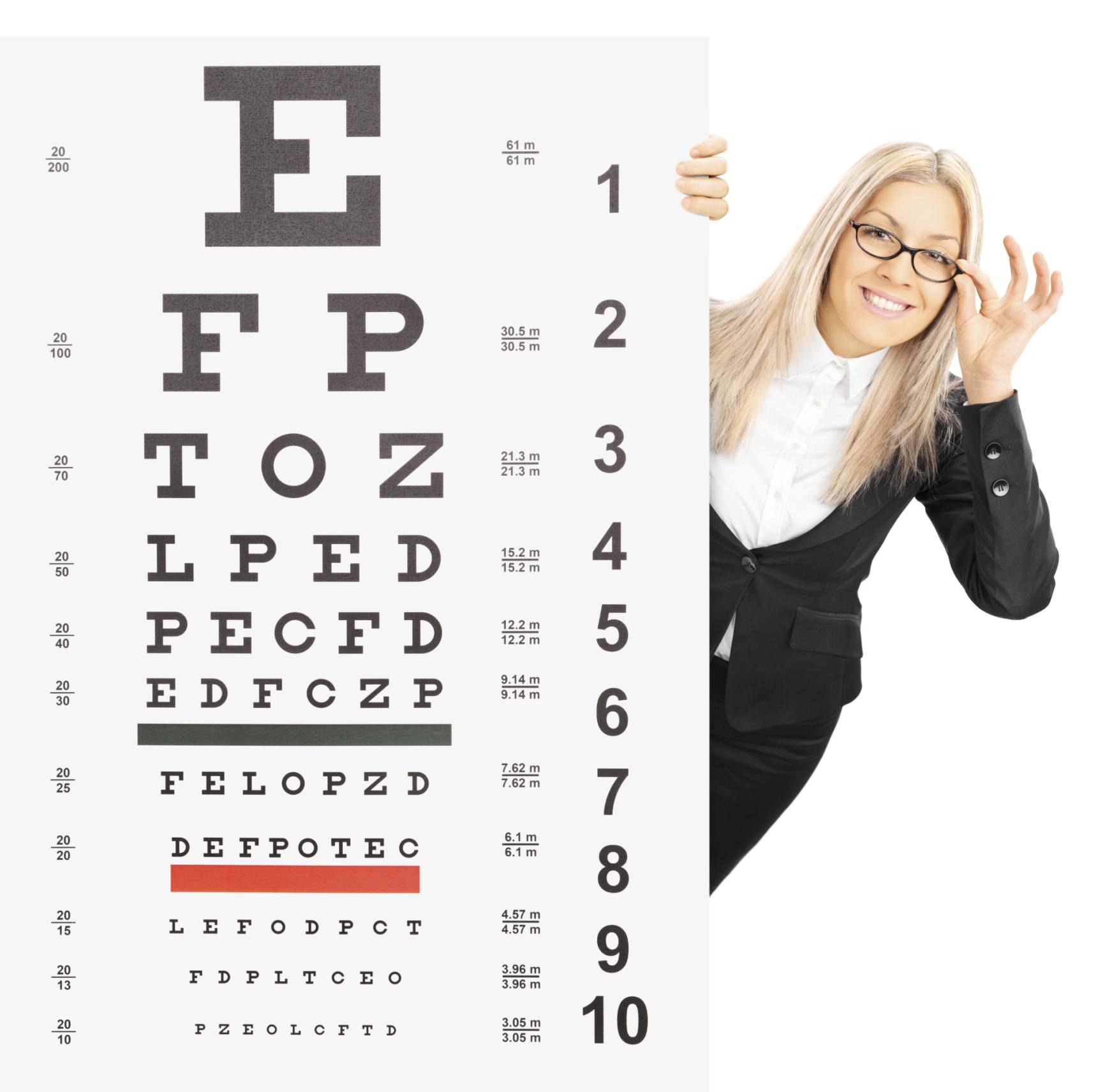 különböző táblázatok a látáshoz