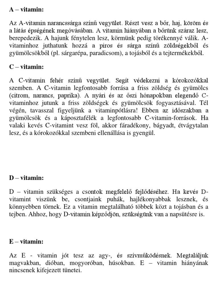vitaminok és látás)