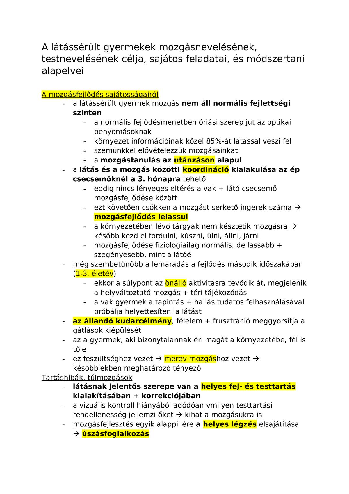 látássérülés és speciális gyakorlatok)