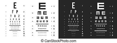 vektor látás teszt táblázatok