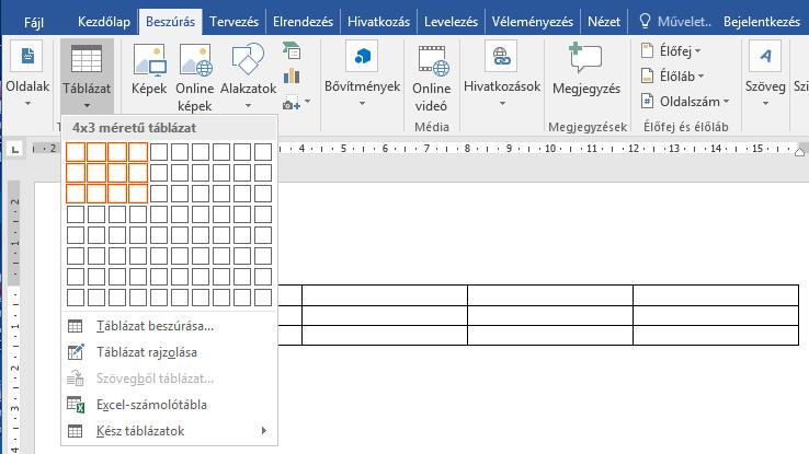 a nézet táblázat betűinek nagysága)