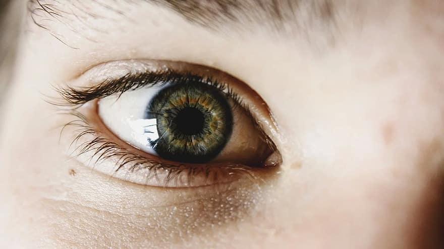 rejtély, kezek, szemek, lány, ujjak